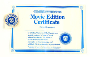 Movie Edition Certificate