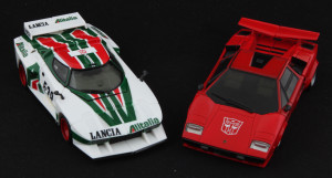"The Stratos Turbo has the wild proportions of a supercar (such as MP Sideswipe), but form followed function, leaving them less ""sexy""."