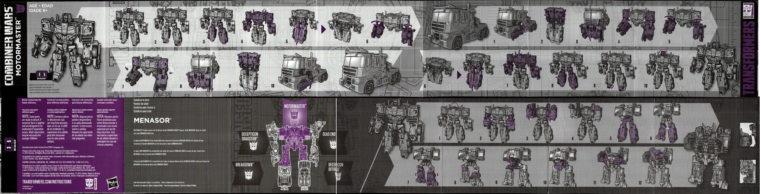 Transformers Combiner Wars G2 Motormaster Complete Voyager Menasor