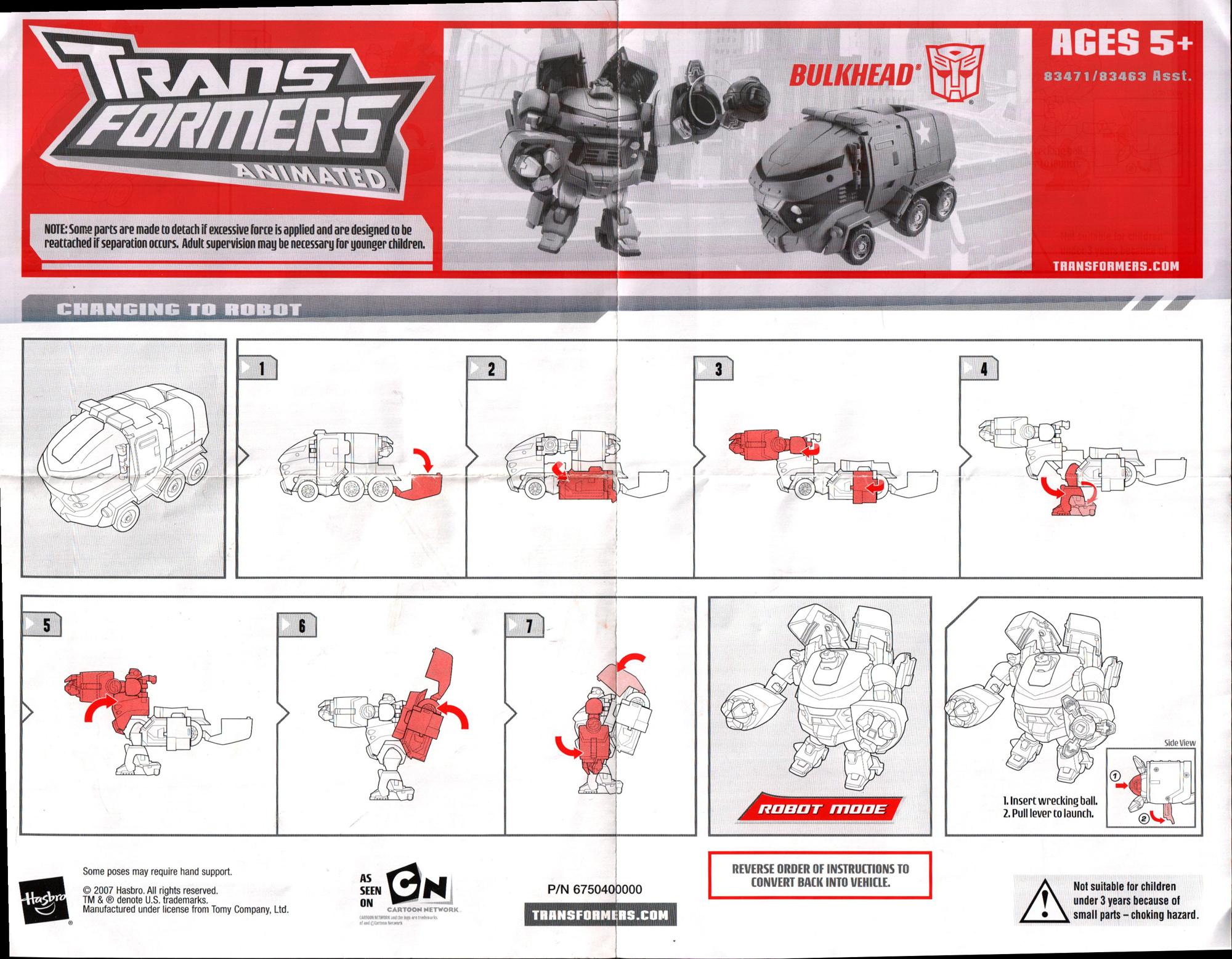 TRANSFORMERS ANIMATED BULKHEAD Instructions