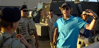 Director Michael Bay on the set of the Transformers movie