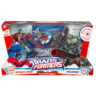 Entertainment packs the battle begins transformers - Transformers cartoon optimus prime vs megatron ...